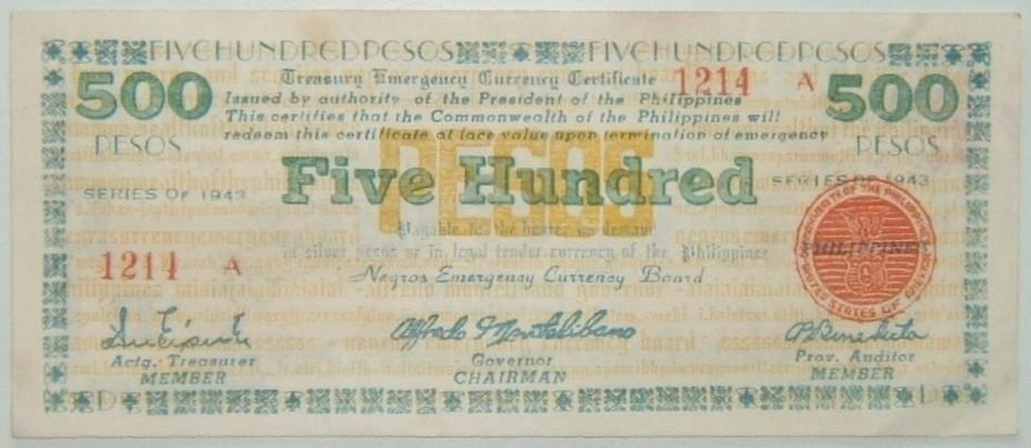 Philippines: Negros guerilla 500 Peso banknote, 1943; Montelibano sig., Crisp