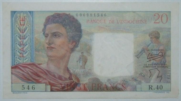 Französische Tahiti/Papeete 20 Franken-Banknote ND (1954-1958), VZ-FU