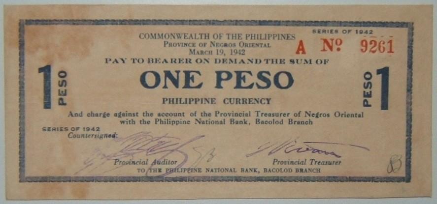 Philippines: Negros 1 Peso guerilla banknote, 1942; CRISP