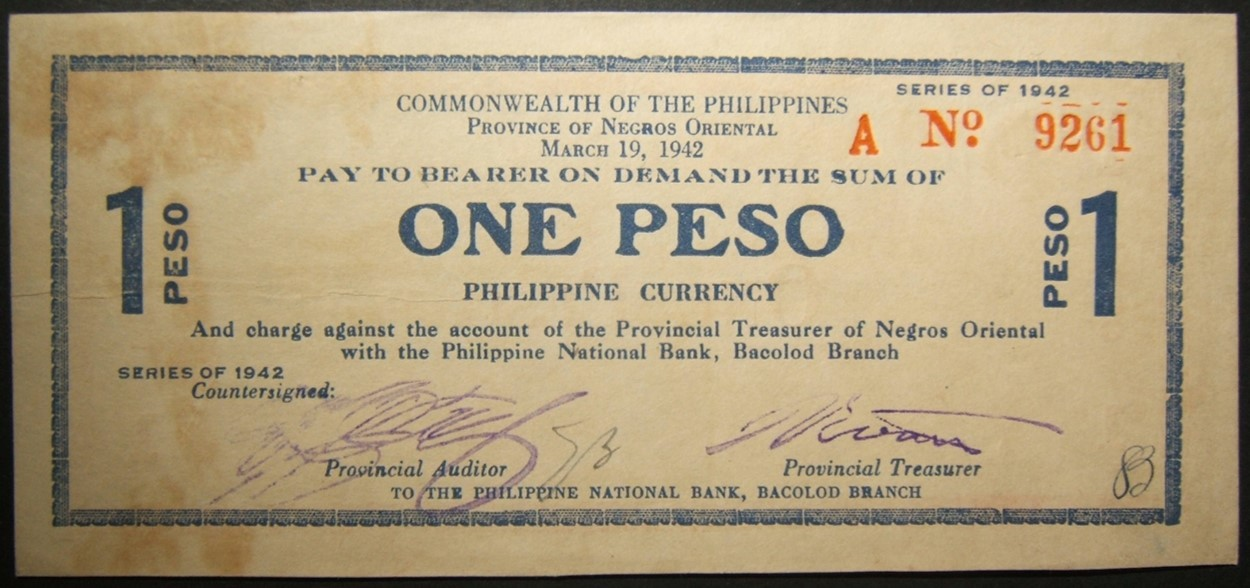 Philippino World War II guerilla 1 Peso Negros Oriental currency banknote 1942