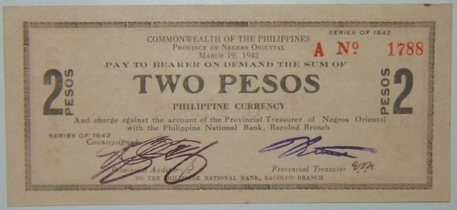 Philippines: Negros guerilla 2 Peso banknote, 1942; Crisp