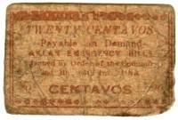 Philippinen: Capiz Aklan Notfall-Währung 20 Centavos, 1942; SGE