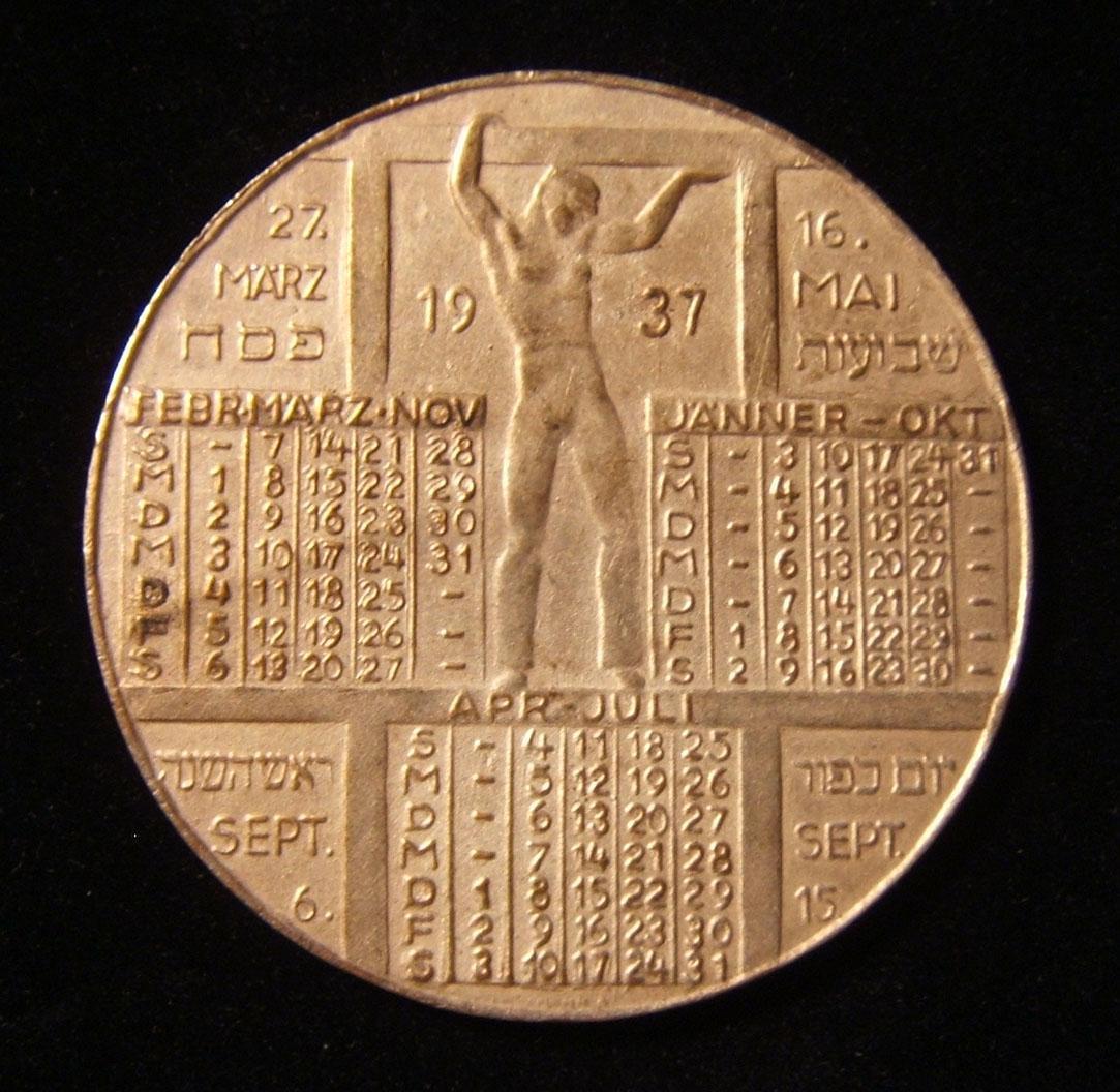 Deutschland/Österreich: Keren HaYesod Kalender-Medaille in Deutsch, 1937; Kupfer-Nickel; Hersteller-Kennzeichnung (unklar); Größe: 40 mm; Gewicht: 17,55 g. Vorderseite: Latein-dati