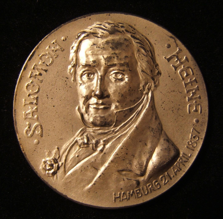 Deutschland: Hermann Heine Stiftung, Silbermedaille von Salomon Heine, 1906; von H. Manga; Größe: 42 mm; Gewicht: 28,85 g. Vorderseite: Büste von Salomon Heine & Datum