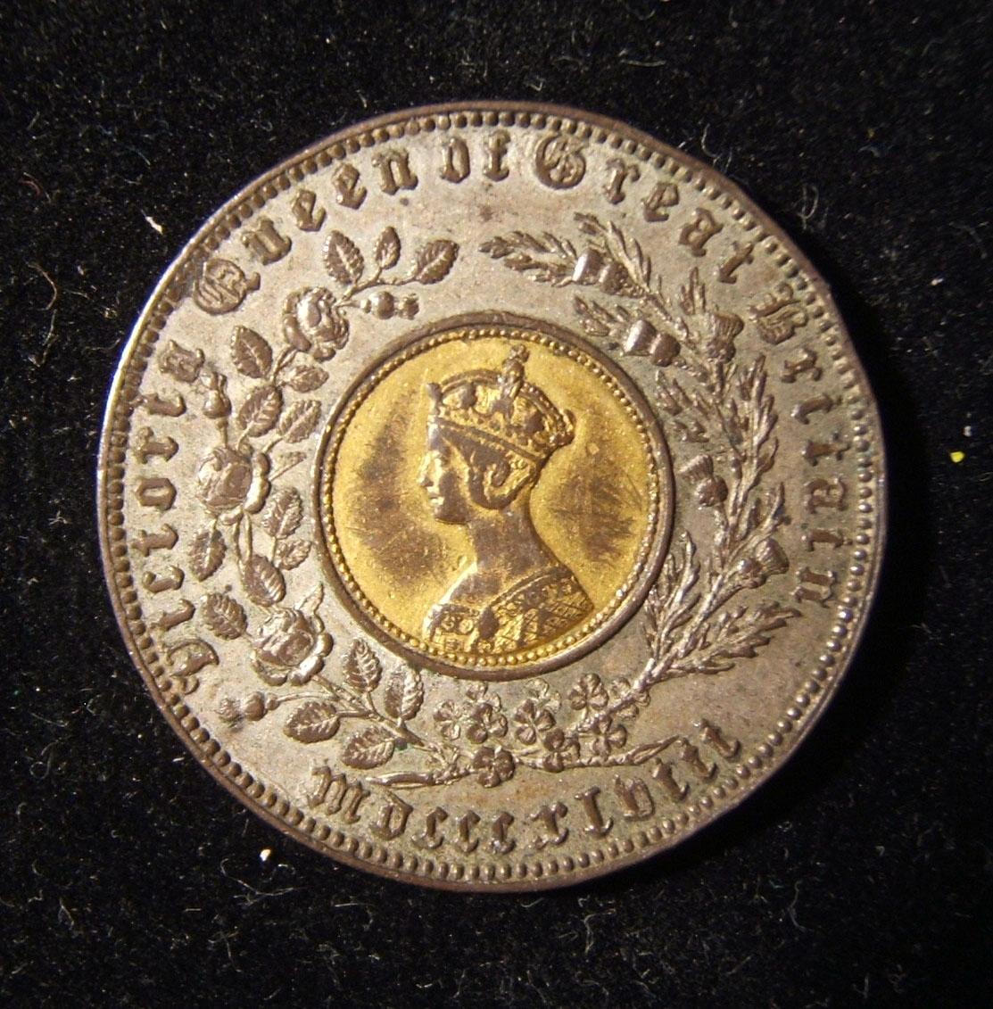 British Bimetallic Model Crown Token / Toy Money by Hyam Hyams & Joseph Moore 1848