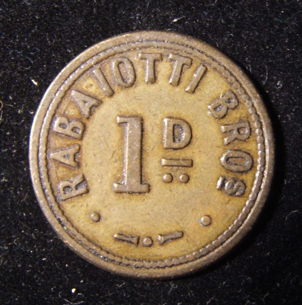 Großbritannien > Wales: Rabaiotti Brüder, 1 Cent Uniface-Token aus Messing ND, ca. 1900-1925; kein Hersteller gekennzeichnet; Größe: 25,5 mm; Gewicht: 5 g. Nicht dokumentiert: verm