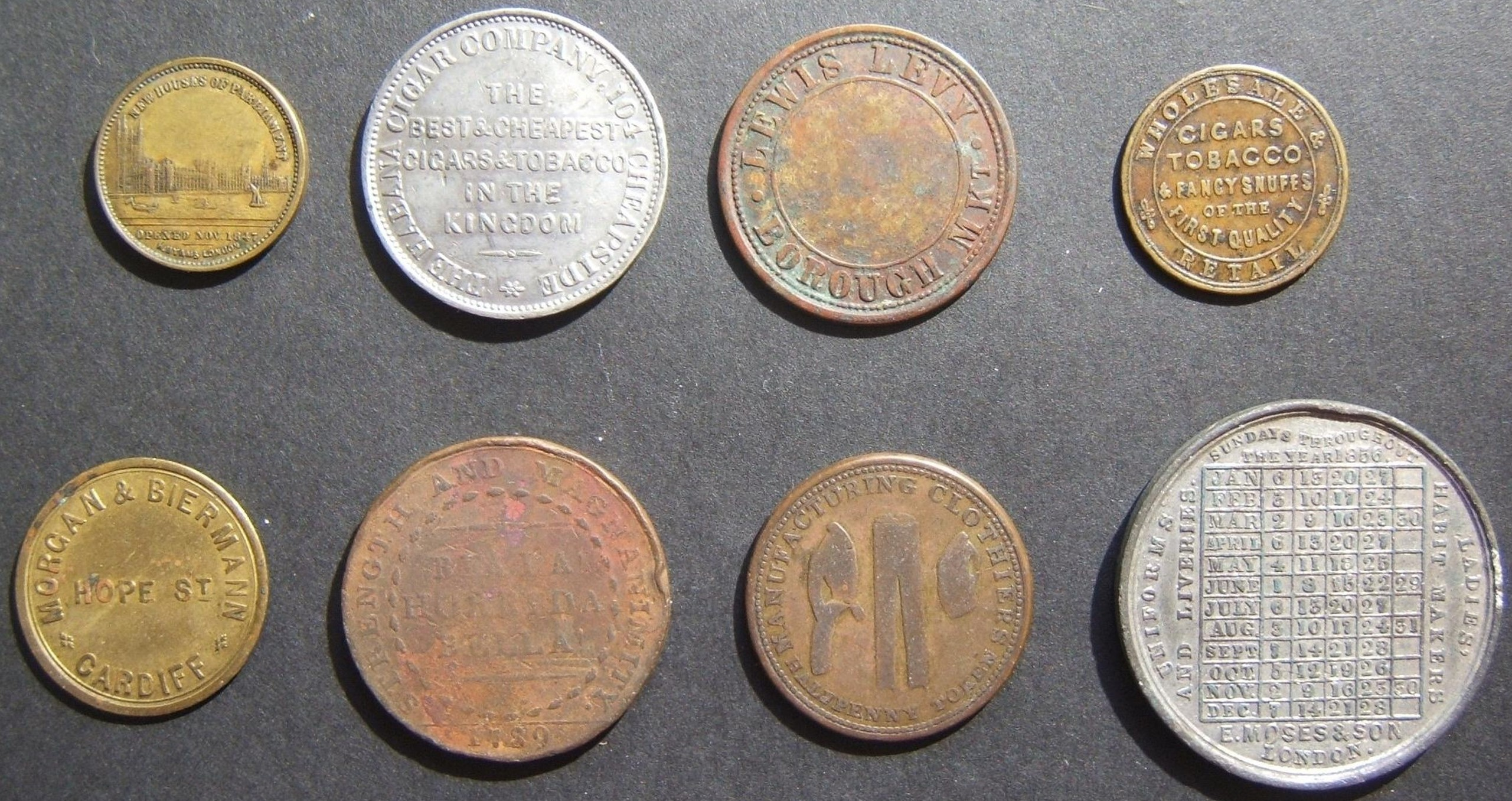 8x British Jewish business/merchant tokens, some denominated; 19-20th Centuries