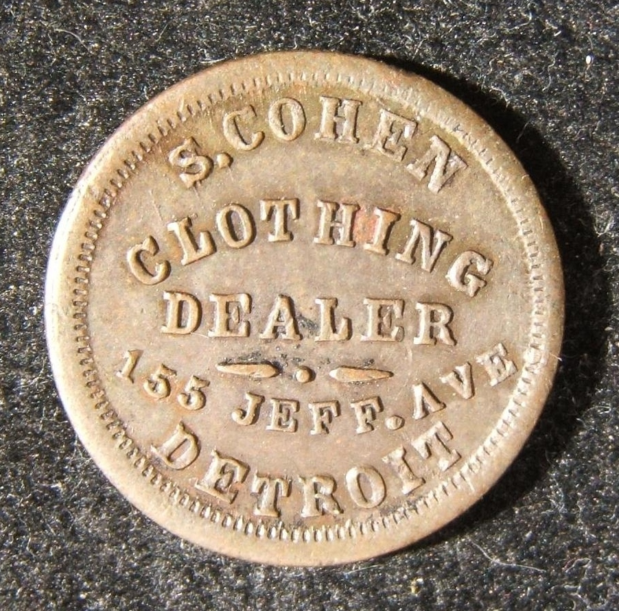 American Civil War-era Jewish S. Cohen of Detroit business Judaica token, 1863