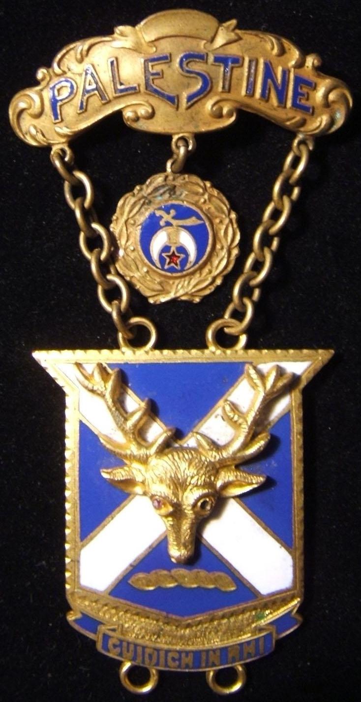 شارة عضو Shriner-Palestine Freemason الأمريكية ، أوائل القرن العشرين