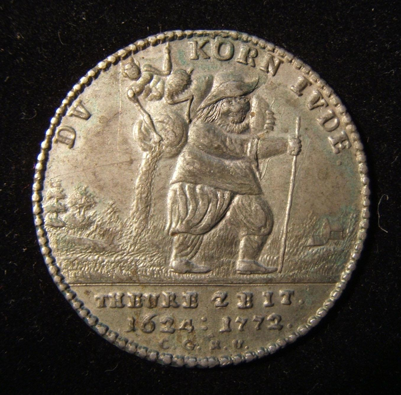 Germany > Sachsen-Thuringen: 'Corn Jew' medal w/ grain peddler, vertical sifter &