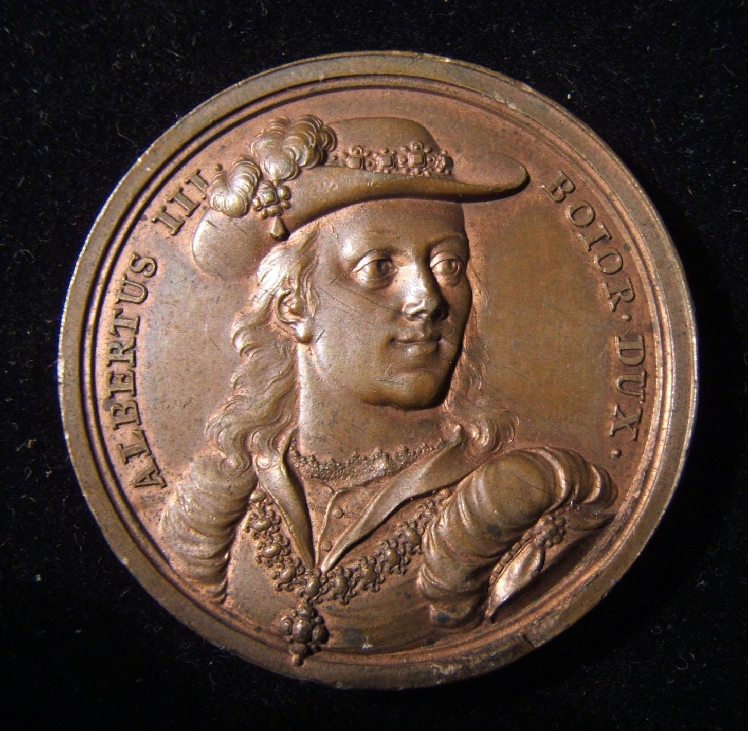Germany: Albrecht III der Fromme, Duke Bavaria-Munich copper medal by Schega