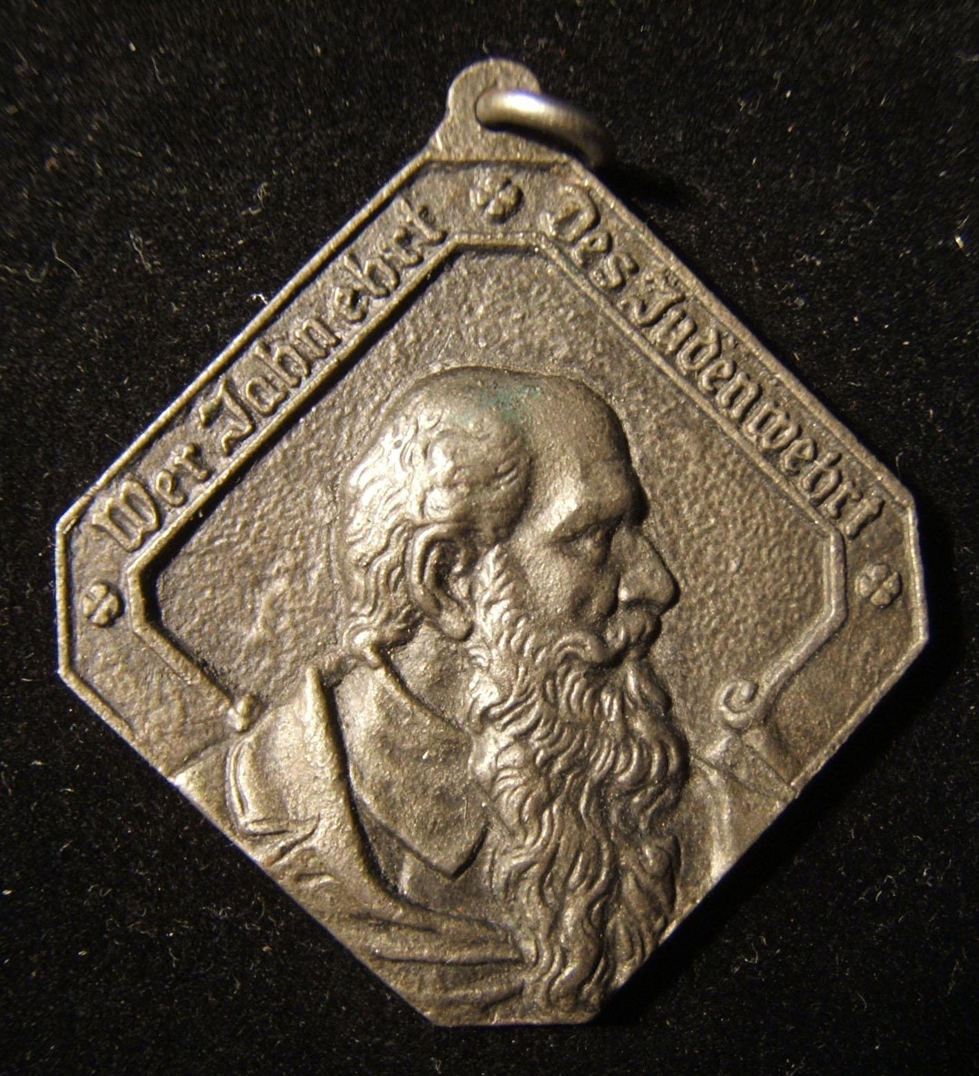 Deutschland: Friedrich Ludwig Jahn, antisemitisches Medaillon, Guss-Eisen, ca. 1870-1880er; kein Hersteller gekennzeichnet; 36 x 36 mm, 16,5 g. Vorderseite: Nach rechts schauender