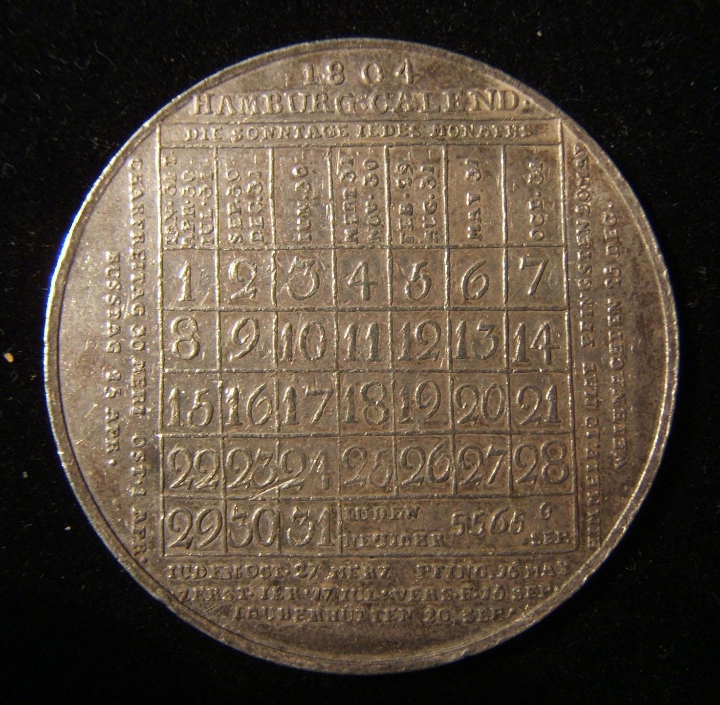 Germany > Hamburg: Jewish calendar medal (