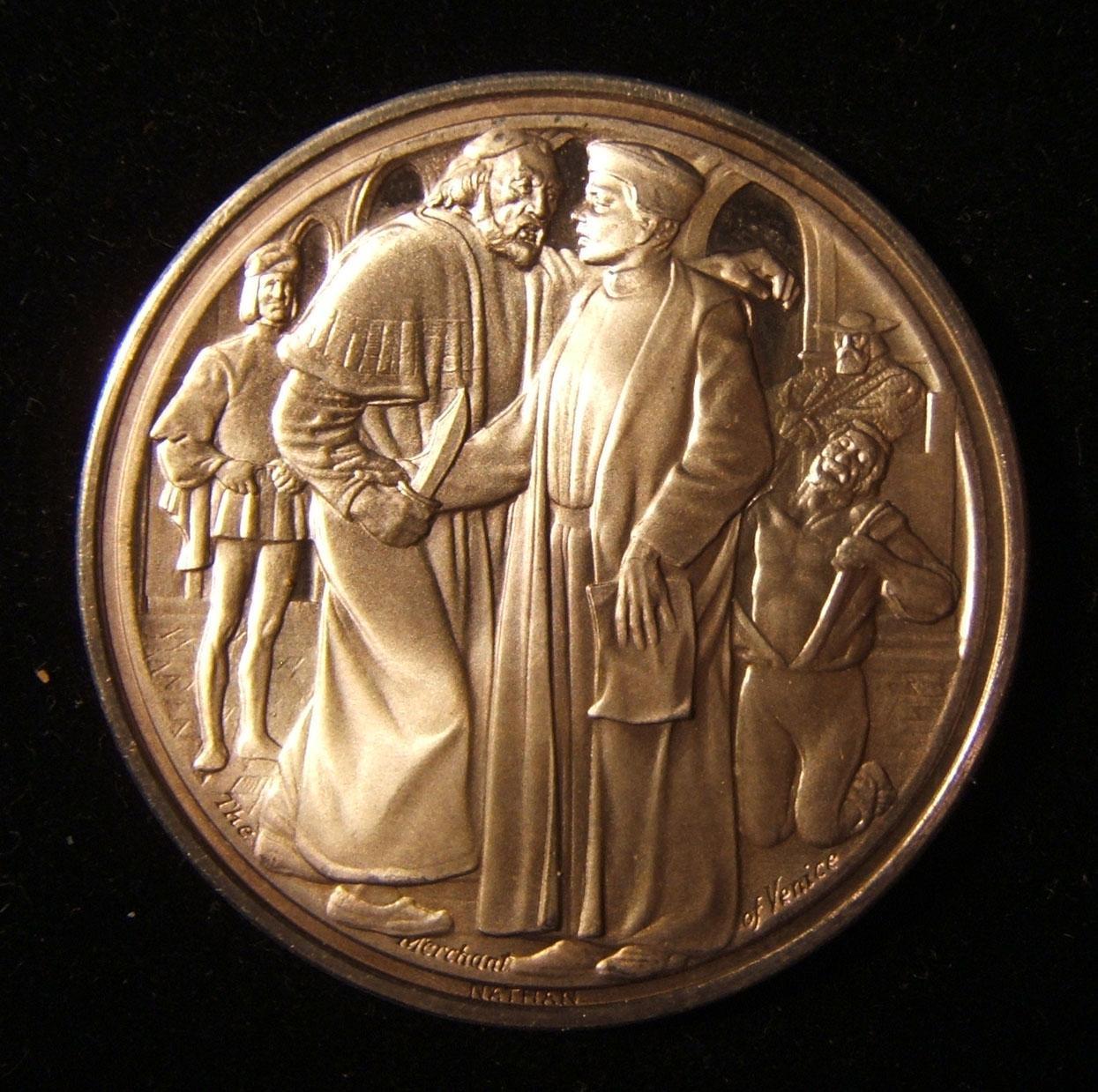 التاجر البريطاني في البندقية فضية يهودية ميدالية من قبل شركة شكسبير / فليب ناثان