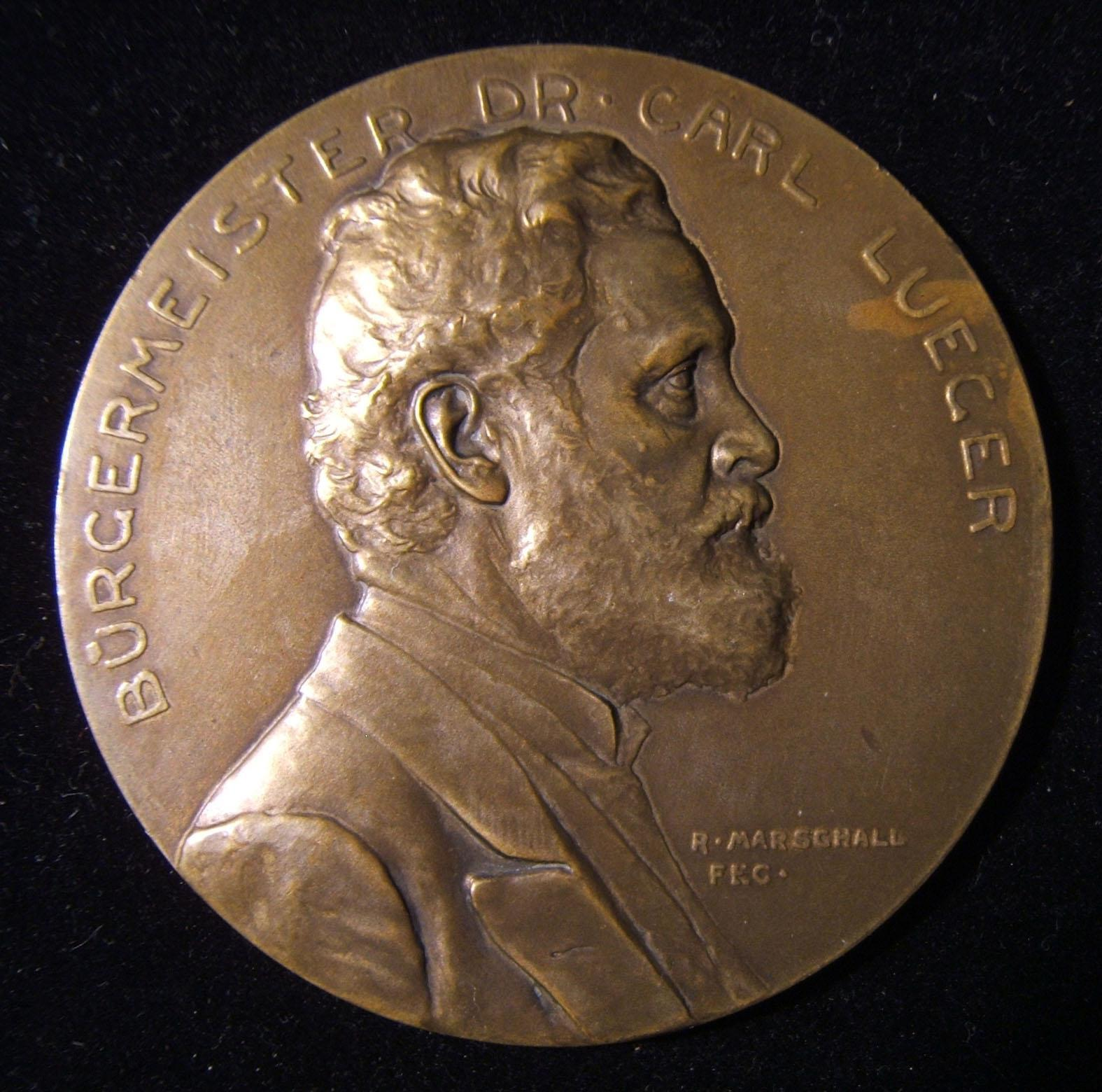 Austrian anti-Semite Karl Lueger 60th birthday medal 1904 by Rudolph F Marschall