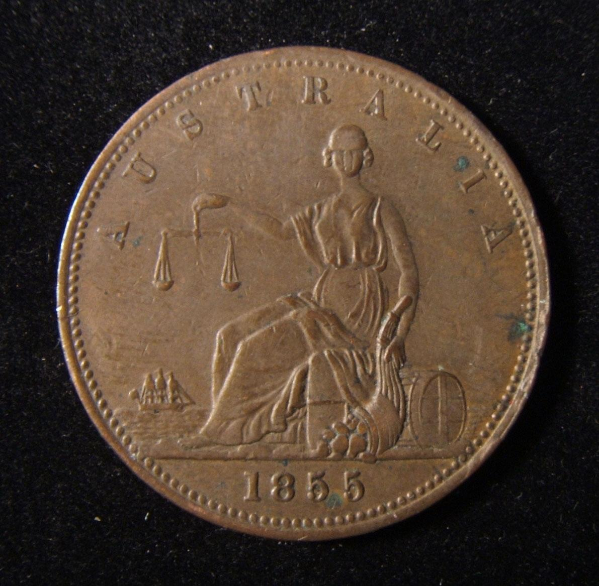 Australia: Levy Brothers of Melbourne [Jewish] merchant copper Penny 1855 (A.320, KM #Tn147); size: 33.75mm; weight: 15.85g; in VF+. Obv.: double ring leg.: