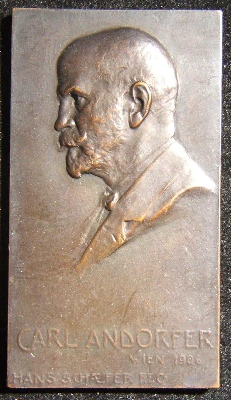Austria: Carl Andorfer uniface commemorative bronze plaque, 1906, by Hans Schaefer; size: 3.15 x 5.65cm; weight: 33.3g. Obv.: left facing Andorfer, name below;