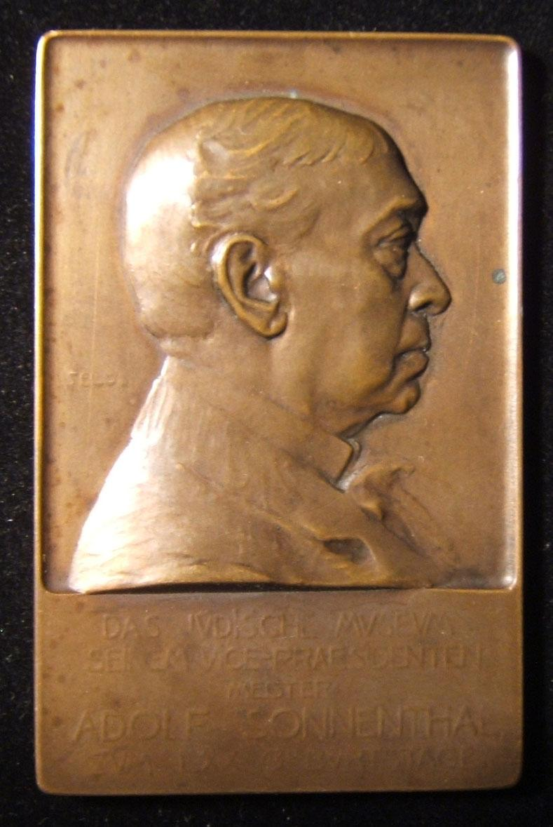 Austria: Adolf Sonnenthal 70th birthday bronze plaque by Telcs, 1904