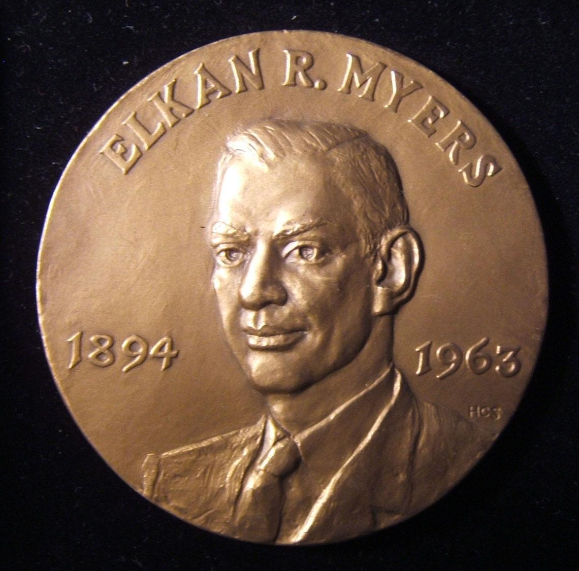 US: Elkan R. Myers memorial award medal, ND; manufactured by the Medallic Art Company, designed by HCS (Hans Carl Schuler, 1912-1999; Forrer listed v8 p.196); size: 76mm; weight: 1