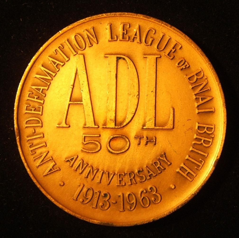 US: jubilee medal commemorating 50 years of the Anti-Defamation League, 1963; size: 61.5mm; weight: 116.65g.