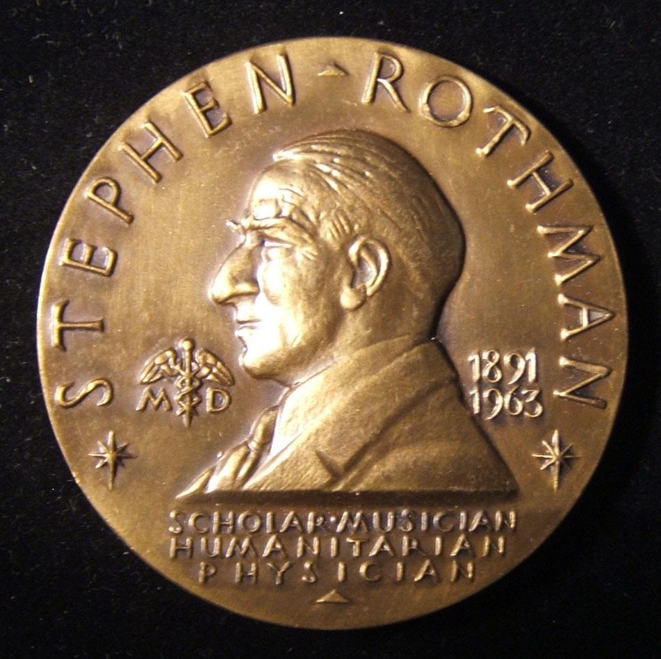 US: Stephen Rothman Memorial Award bronze prize medal; by Medallic Art Co., designed by Bruce Moore (1906- 1980); size: 63.5mm; weight: 119.75g. Obv.: left-facing Rothman w/ name a