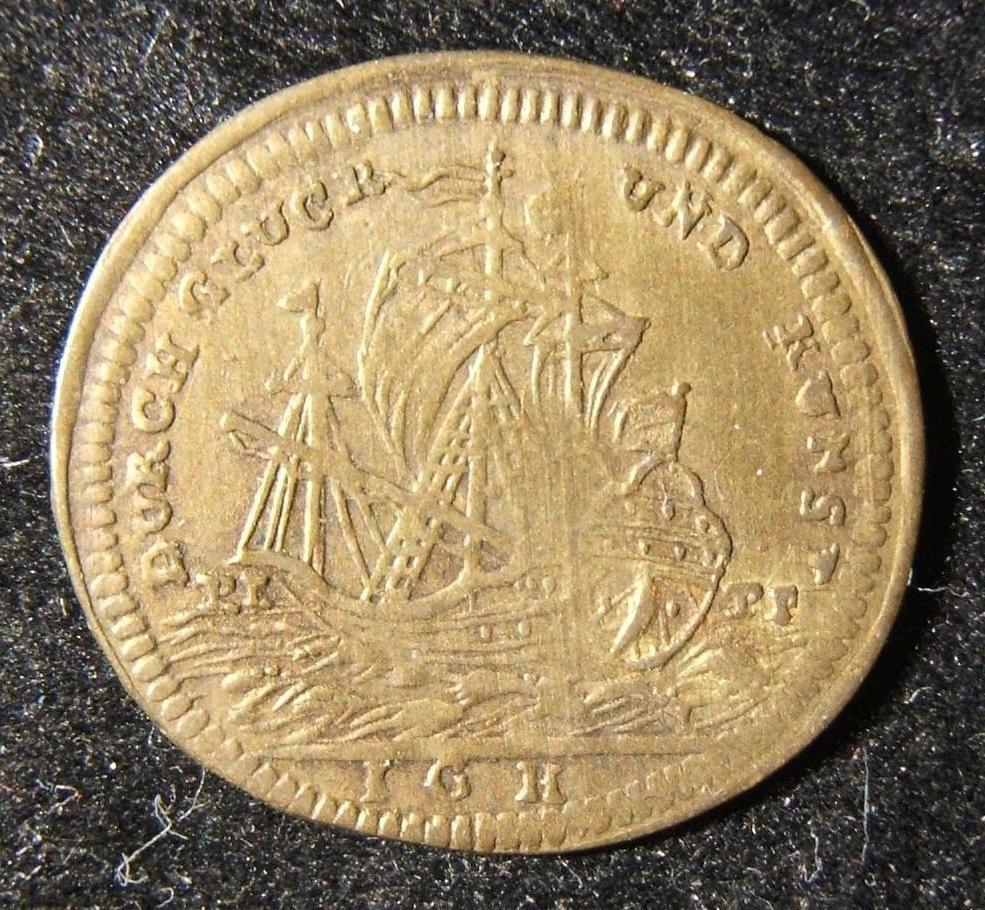 """فرنسا: نحاس """"Rechenpfennig"""" لـ Johann Georg Holtzhey (1729-1808) ، ND (حوالي 1749-1774) ؛ حجم (بيضاويّ): 19.5mm؛ الوزن: 0.8 جرام ؛ محاذاة عملة. Obv .: 3 سارية السفينة ؛ المانيا. رجل. """"دورش"""