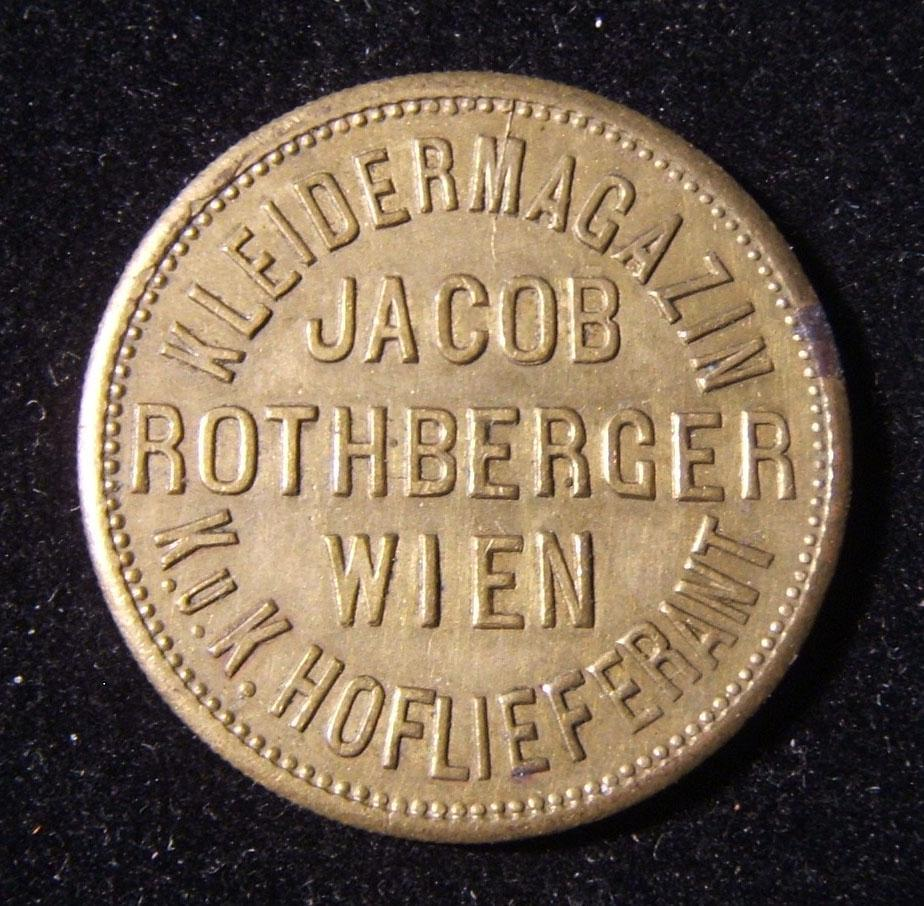 Austrian Jacob Rothberger undenominated illustrated Jewish business brass token