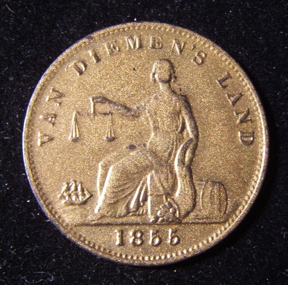 Australien > Tasmanien: Half-Penny Maultier-Token, ausgestellt von Ruben Josephs, Operator der Mautstelle Van Diemens Land, 1855; geprägt von W.J. Taylor von London; Größe: 27,75 m