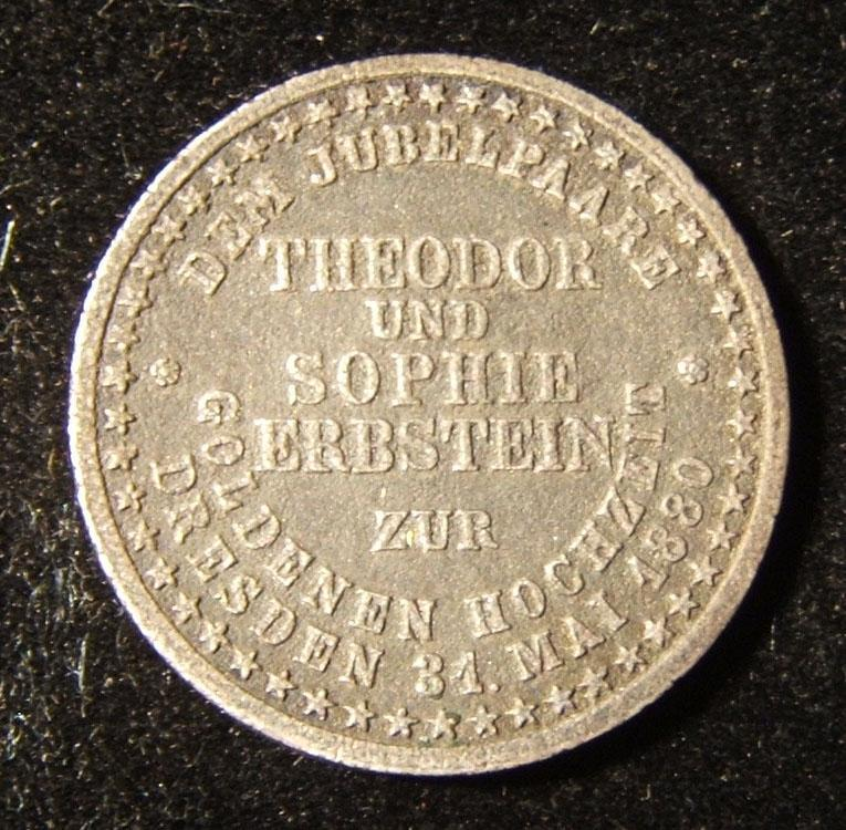 Germany Judaica Julius Theodor/Sophie Erbstein wedding anniversary token 1880