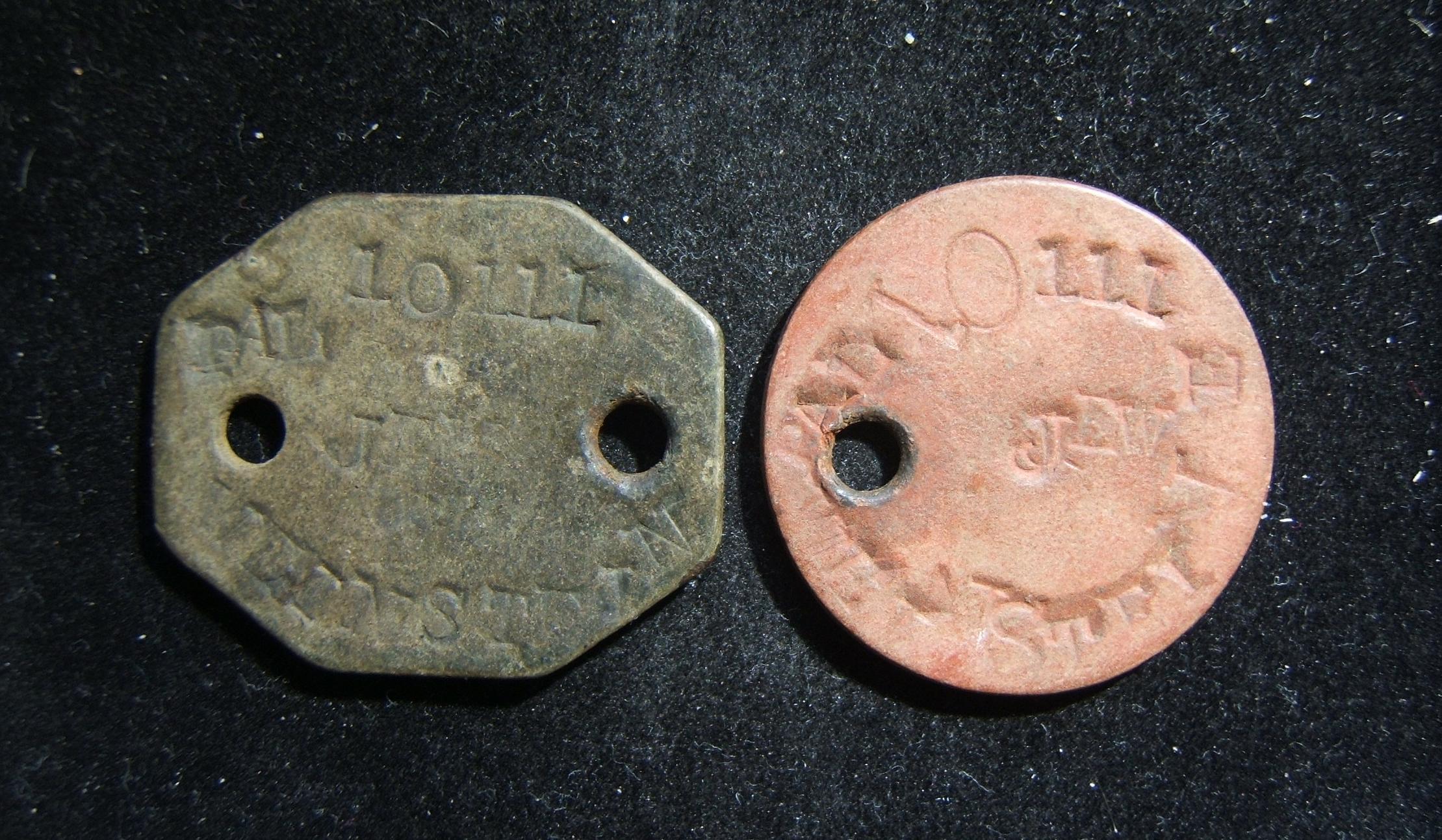 Großbritannien: Satz x2 Identität-Markierungen, gehöre zu palästinensischen jüdischen Soldaten, ca. 1914-1918; Gewicht: 1) 1,95 g und 2) 1,65 g. Markierungen tragen praktisch diese