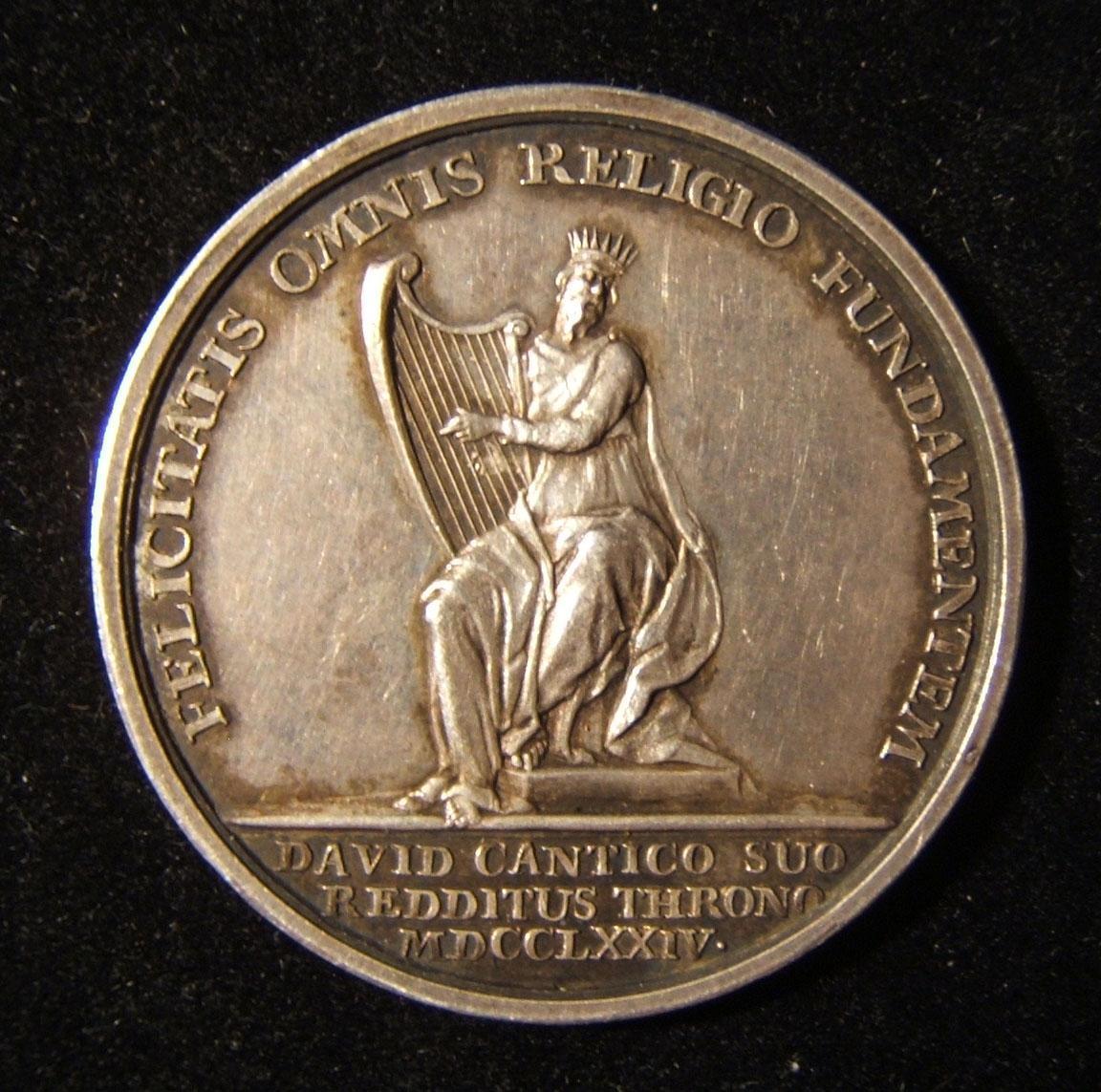 Niederlande/Habsburger Reich: religiös-politische Silbermedaille 1774, von Joannes Vitus Meijer (nicht markiert); Größe: 32,75 mm; Gewicht: 11,3 g. Vorderseite: König David m. Leie