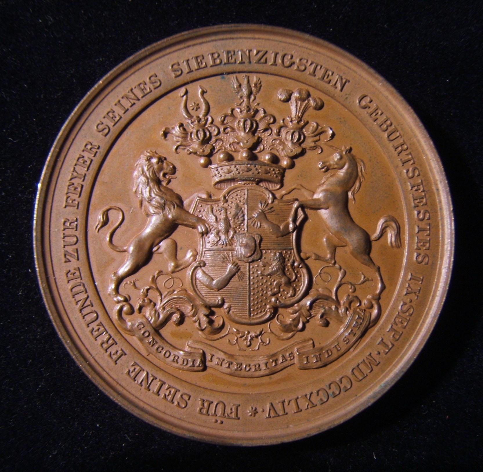 Austria-Hungary > Vienna: Salomon Mayer Rothschild 70th birthday bronze medal, 1844; by Konrad Lange; 64.6g, 49mm. Obv.: family's coat of arms; leg.