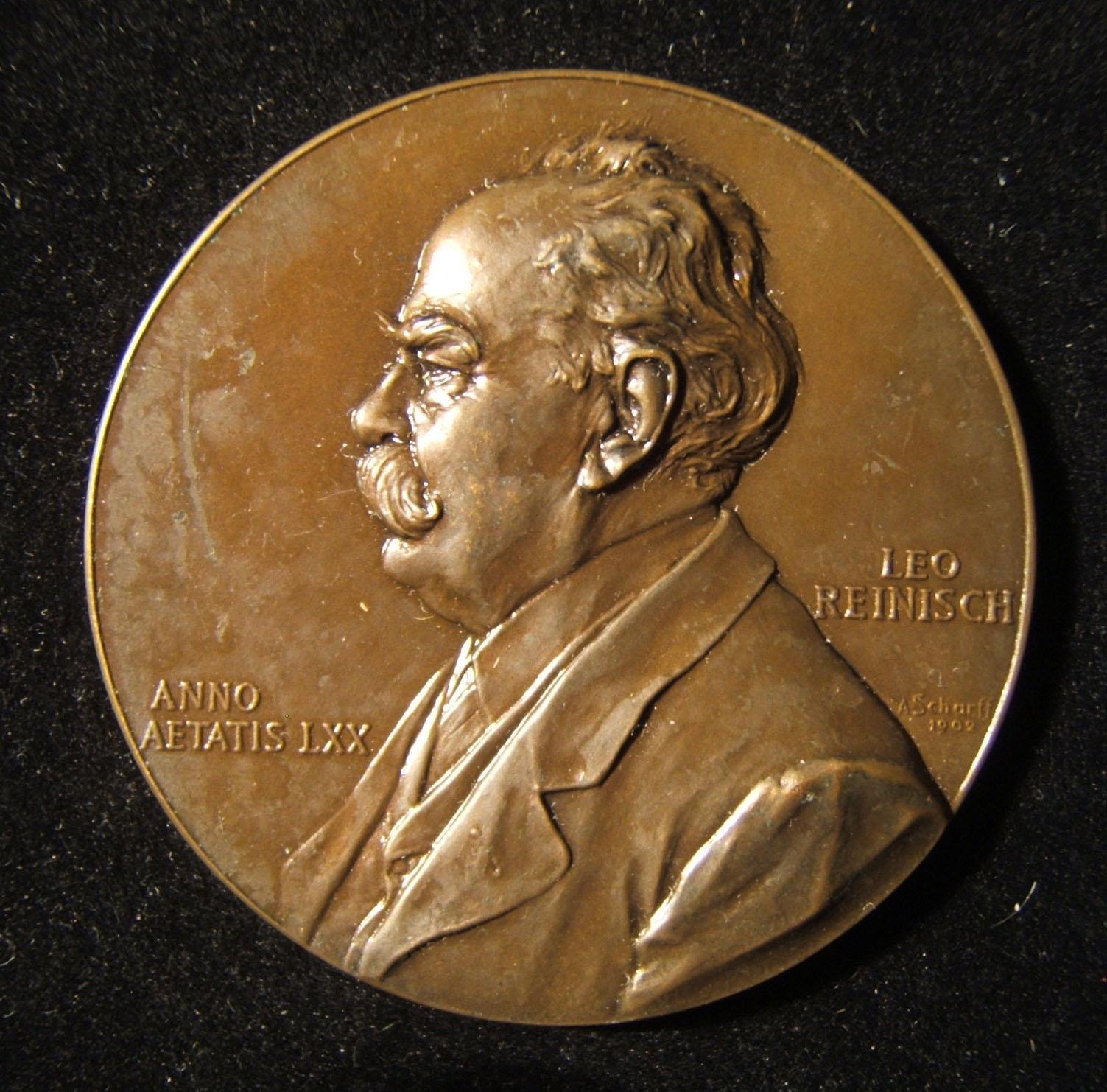 Austria: Professor Leo Reinisch 70th birthday bronze commemorative medal by Anton Scharff, 1902; size: 47mm; weight: 44.65g. Obv.: left-facing Reinisch w/ name at right & Schar