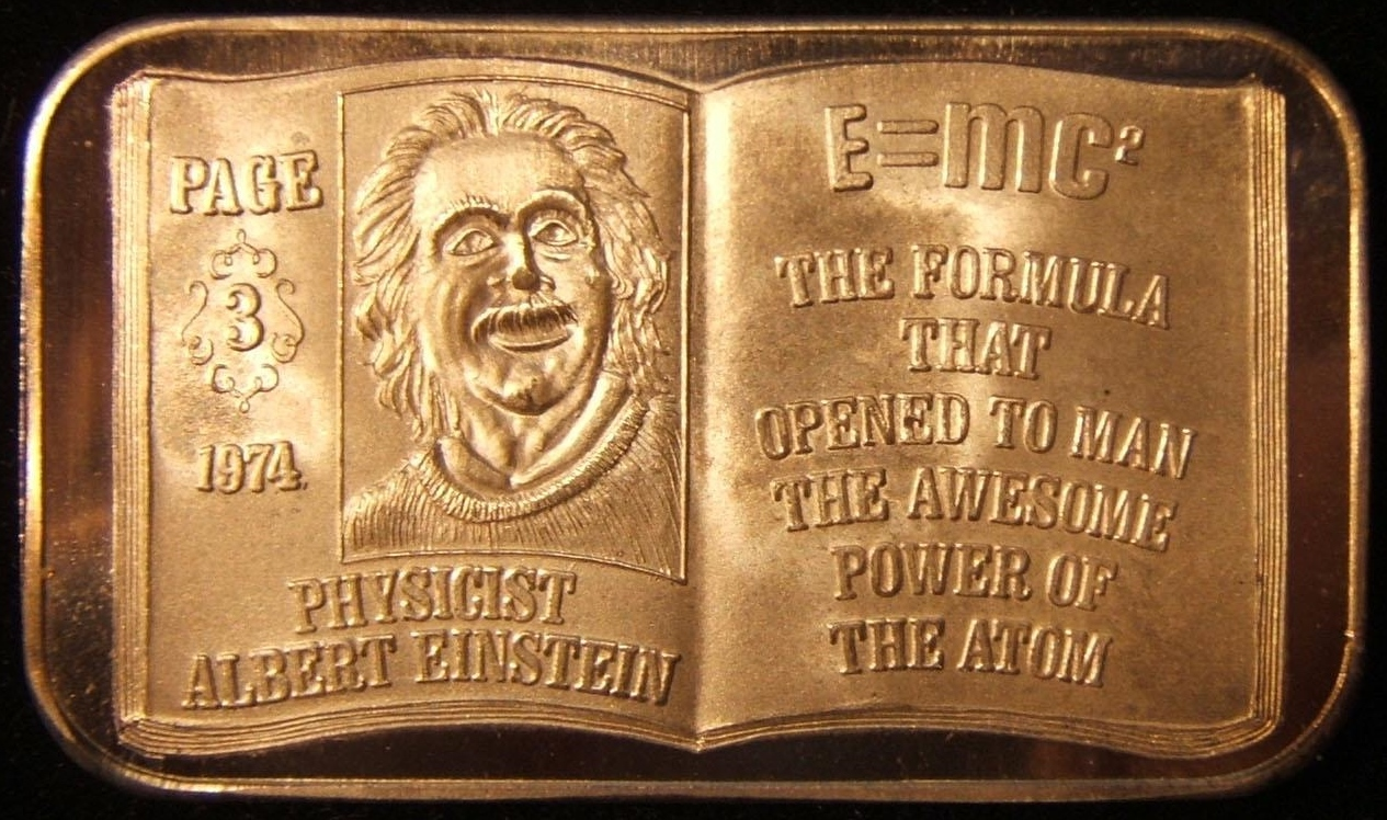 US: Albert Einstein numbered troy ounce silver bar, 1974; produced by United States Silver Corp.; size: 50.25 x 39mm; weight: 31.3g.