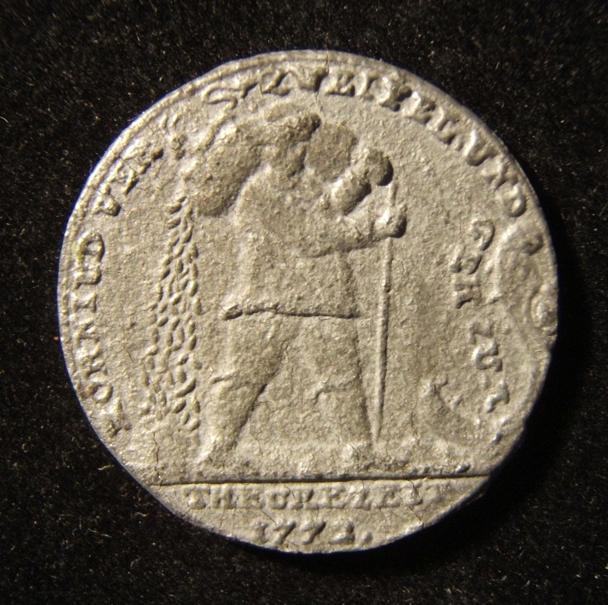 Germany: Kornjude jeton, 1772, by Johann Christian Reich; in pewter; 30mm, 6.75g; obv: Jewish grain peddler to right, open jaws of allegator & leg.