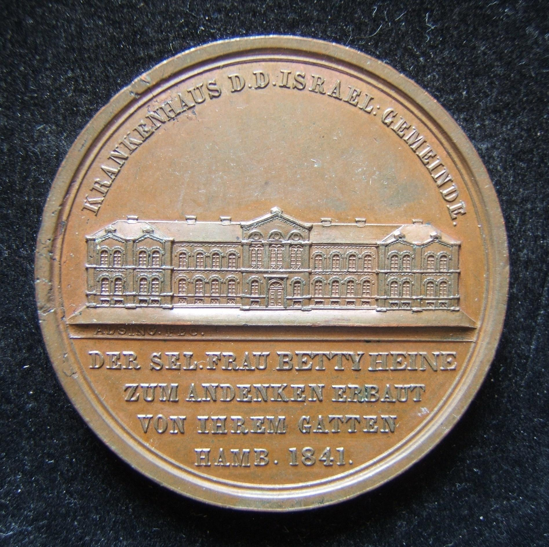 Germany: The New Jewish Hospital in Hamburg large medal by Alsing, 1841