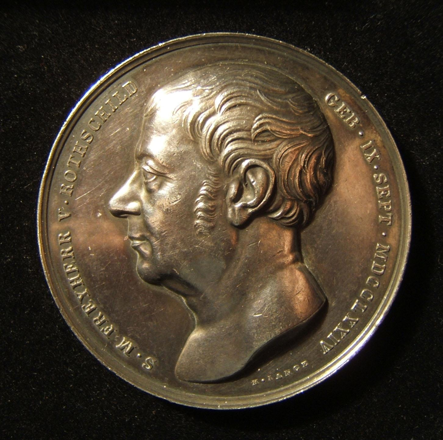 Austria-Hungary: Salomon Rothschild 70th birthday silver medal by Lange, 1844