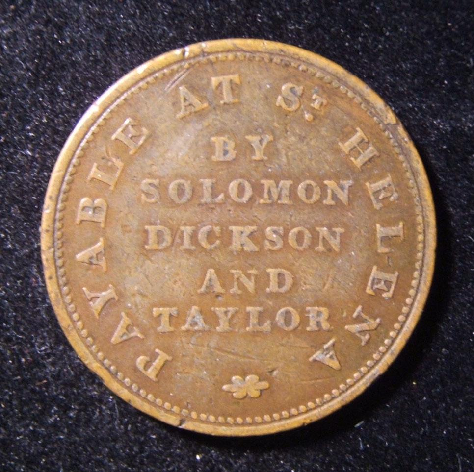 St. Helena: 'Solomon Dickson and Taylor', Halb-Penny Token aus Kupfer, ca. 1821