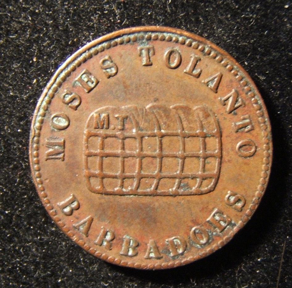Barbados: Moses Tolanto unredeemed Farthing ND, in copper; size: 21.75mm; weight: 4.5g. Obv.: bale with initials