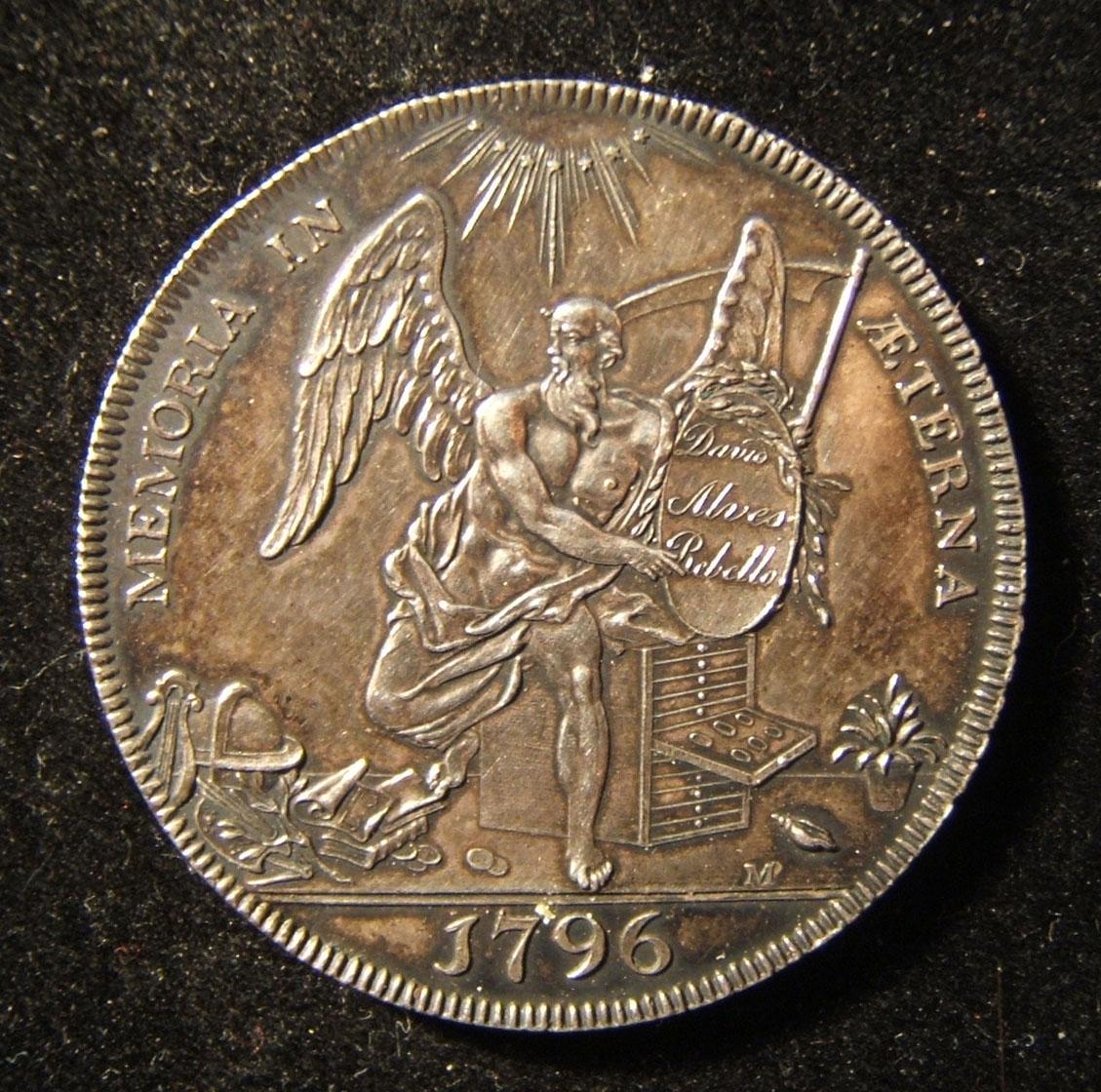 Great Britain: penny-sized Father Time medal of Rebello 1795 halfpenny token, 1796