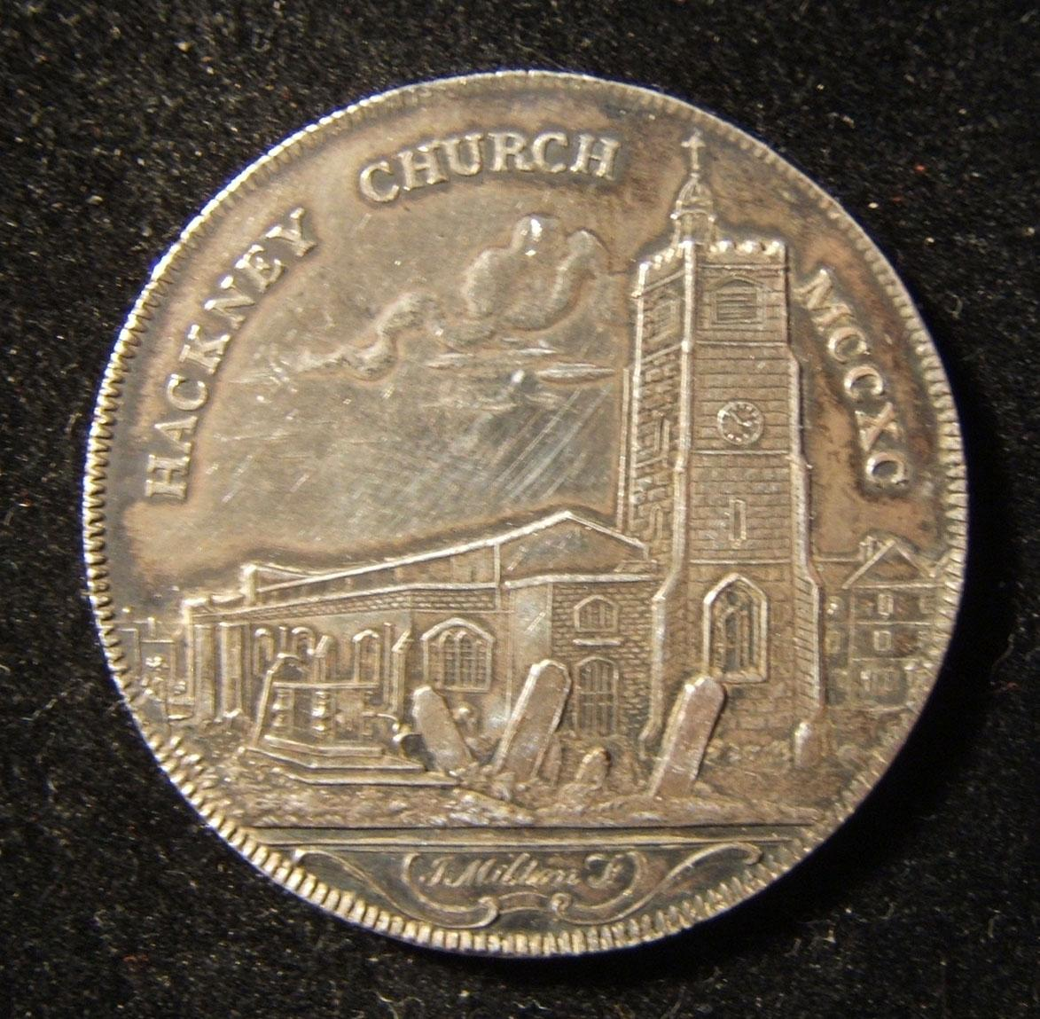 Great Britain: penny-sized Hackney Church medal of Rebello 1795 halfpenny token, 1796