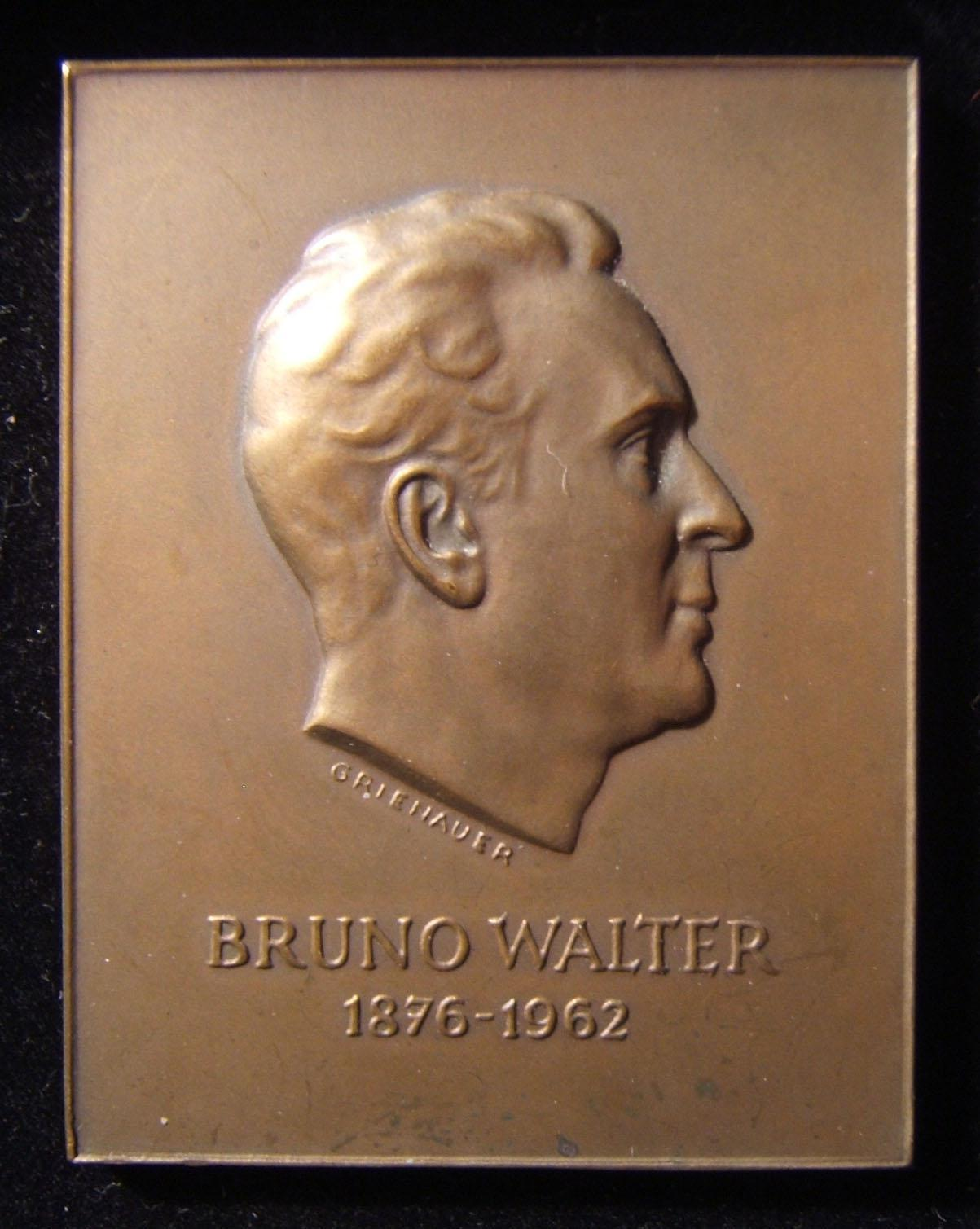 Austria: Bruno Walter profile bronze uniface plaquette by Edwin Grienauer, c. 1962; size: 47 x 60.5mm; weight: 70.1g. Walter (1876-1962) was a German-born Jewish conductor, who con