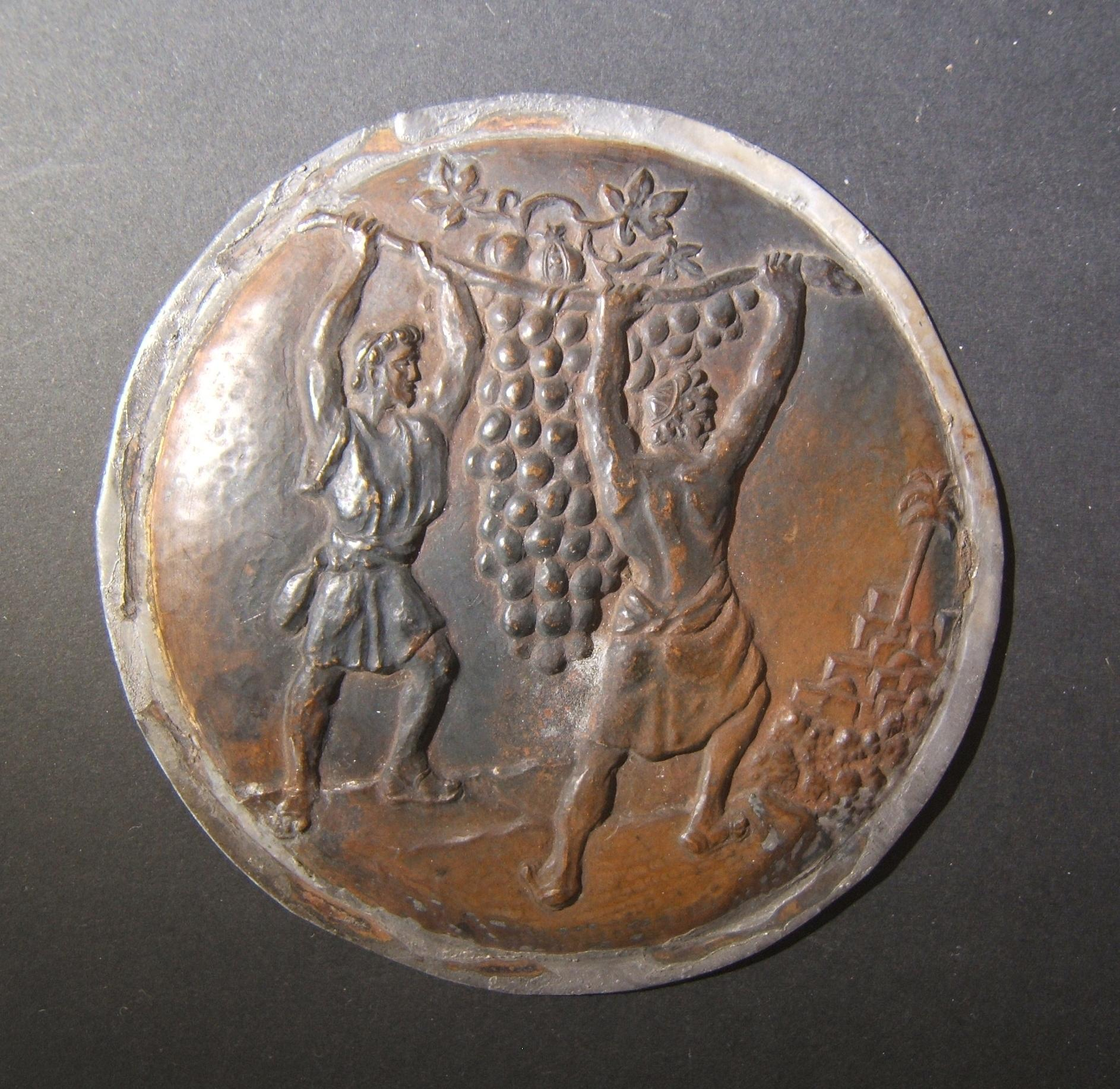 Israel: round metal (copper?) plaque of the Biblical episode of
