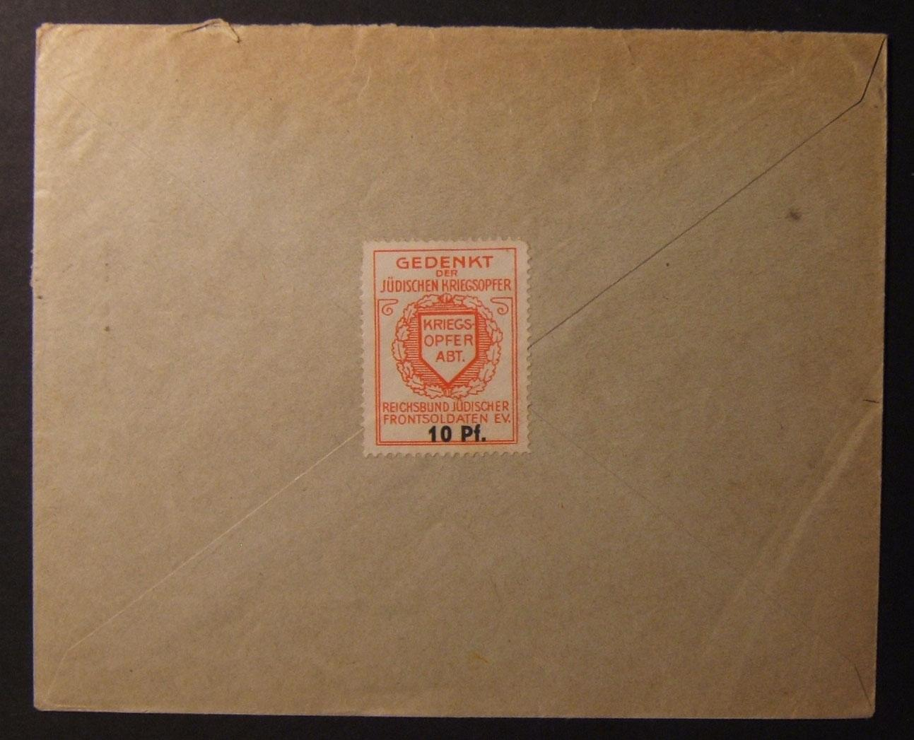 Germany: Jewish War Veterans 10 Pf. label on comm. cv ex. Ger to Pal, 1937