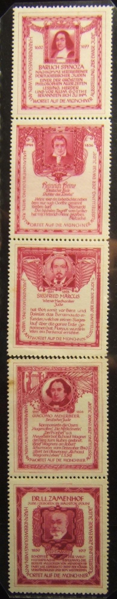 Österreich: 'Harand Movement' anti-'Ewiger Jude' Etiketten, ca. 1937