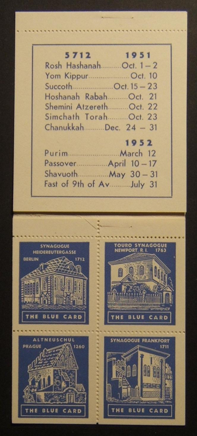 US: 'Blue Card' fund stamp booklet (x4 labels), 1951
