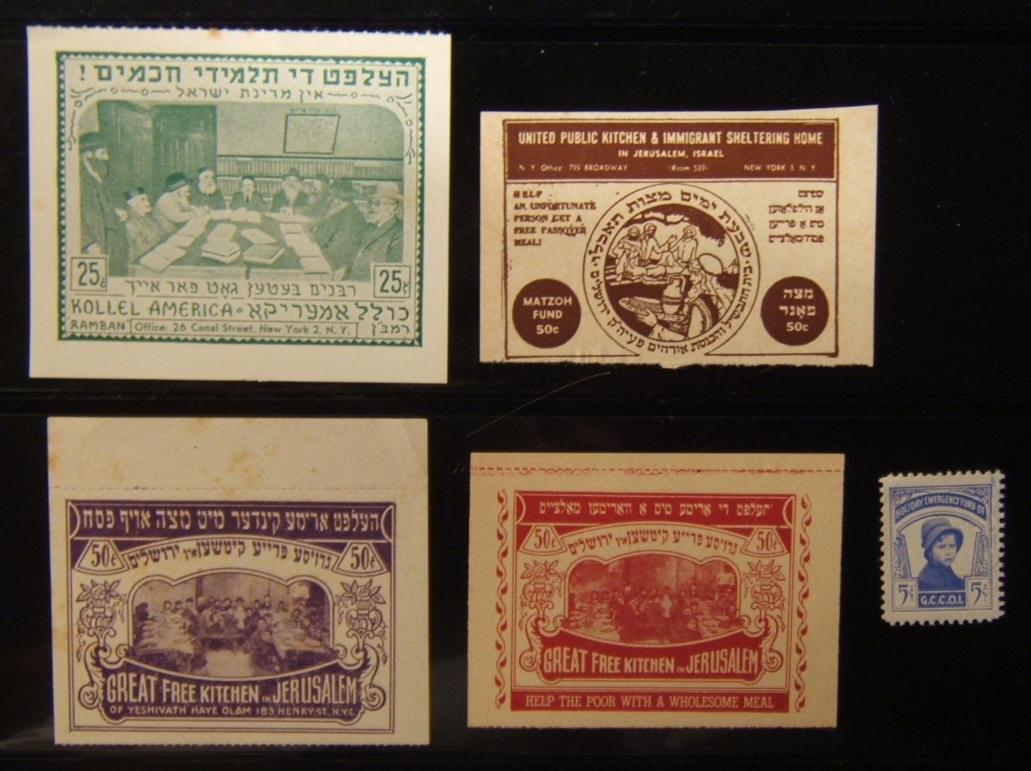 United States: lot 5x various Jewish charity labels, circa. 1930's-1950's: