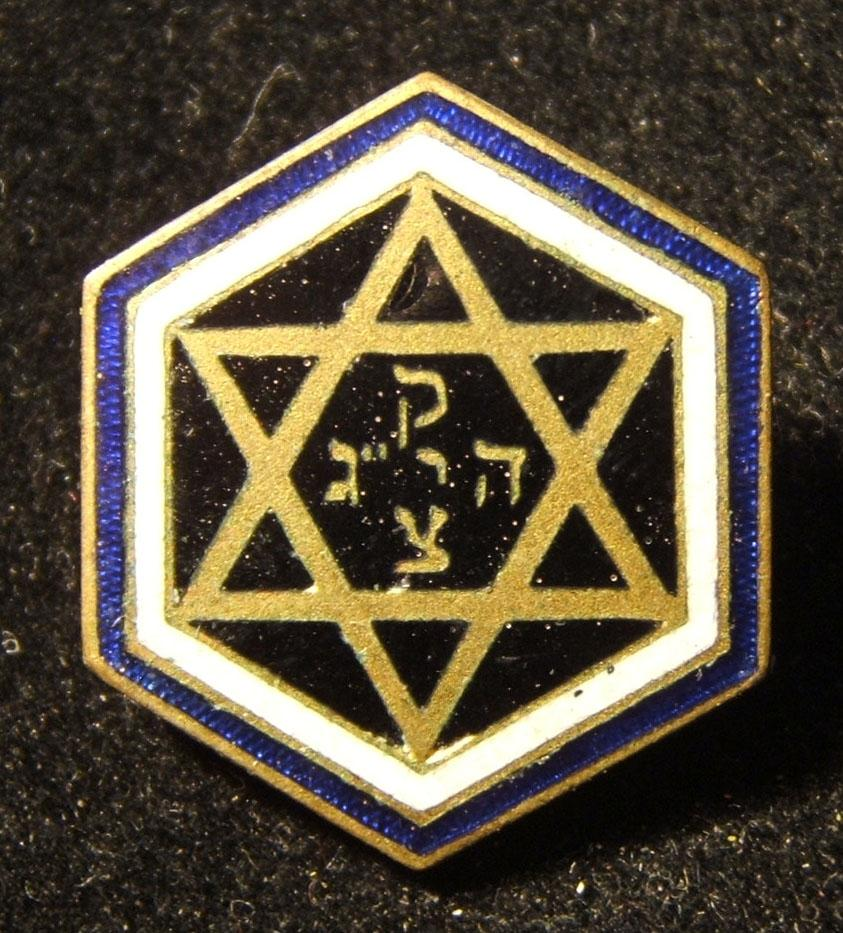 Czechoslovakia: 13th Zionist Congress delegate's pin, 1923