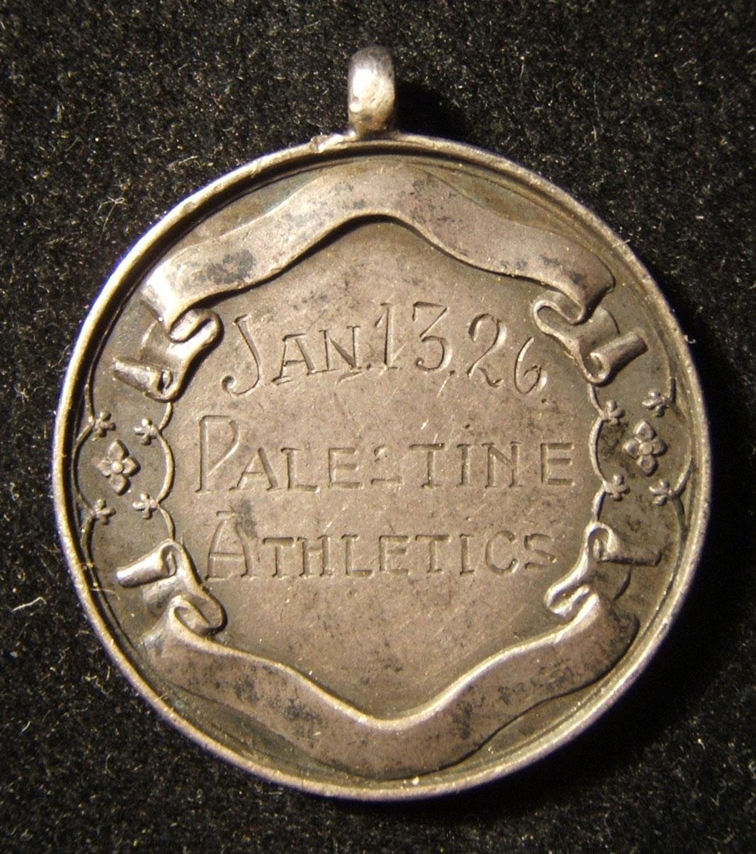'Palestine Athletics' silver medal for walking race, 1926, by Dingley (UK)