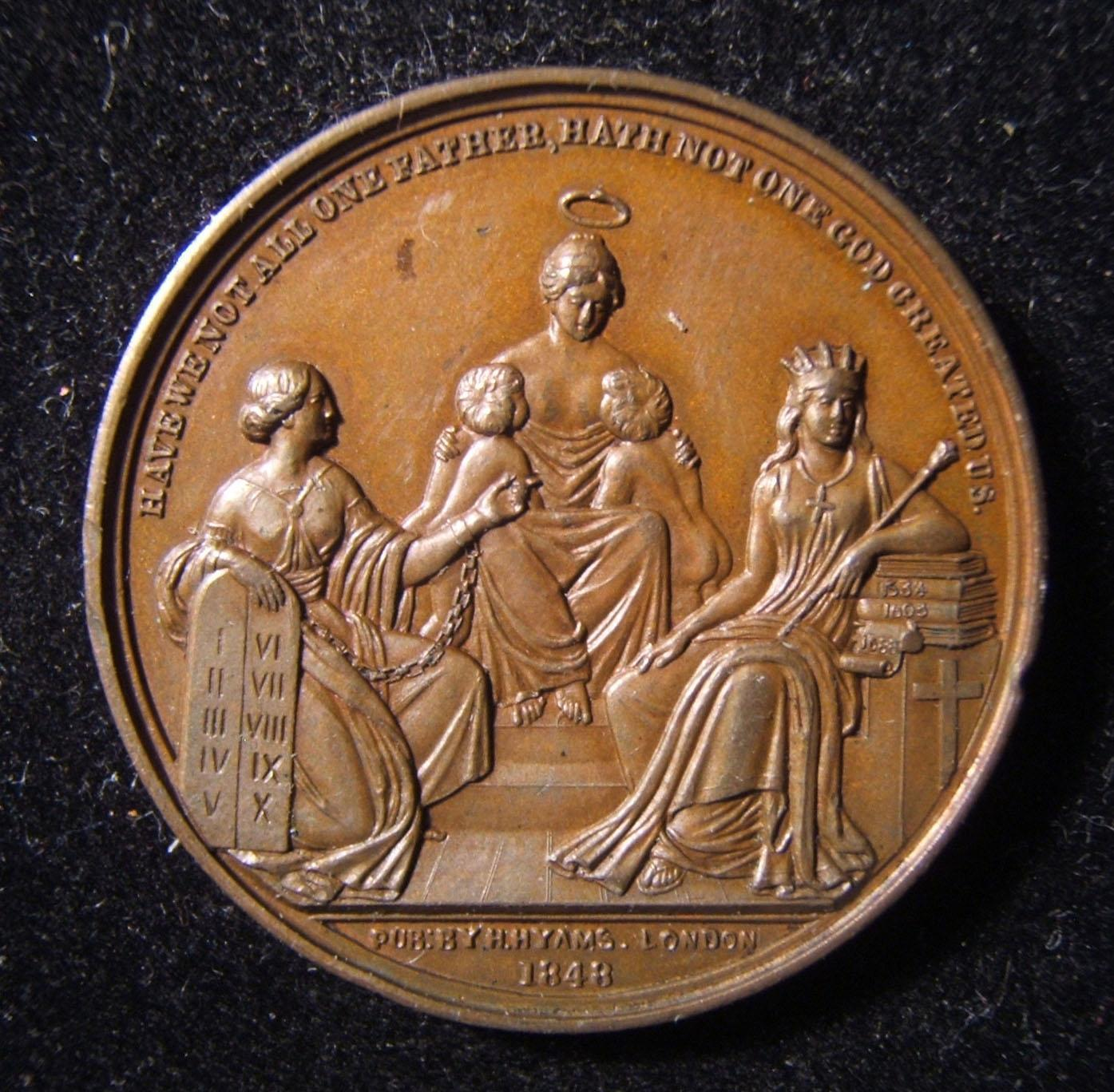 Great Britain: Lord John Russell/ Jewish emancipation bronze medal, 1848; by Allen & Moore; size: 31.5mm, weight: 14g. Obv.: right facing Lord Russell. Rev.: 'Divine Love' suck